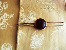 Vintage Old Style Tie Clip Bar Clasp Gold Tone Large Red Jewel    #G