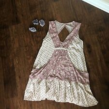 Forever 21 Contemporary Boho Babydoll Dress Cream and Burgundy Women's Sz S