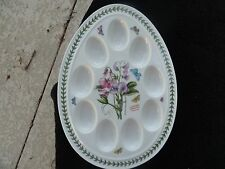 Portmeirion Botanic Garden Sweet Pea Green Laurel Rim White Deviled Egg Dish