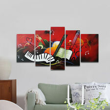 Framed Abstract Hand Paint Oil Painting On Canvas Home Decor Wall Art Red Music
