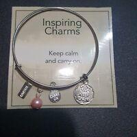 Silver Charm bracelet, bracelet,  pink bead bracelet ,Bracelet
