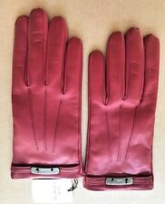 New COACH Swagger Merino Wool Lined Leather Gloves Dark Cherry Woman Size 7.5