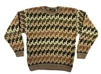 Bachrach Coogi Mens Sweater LARGE Brown Style Abstract Bill Cosby Biggie Vtg