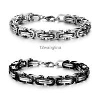 Stainless Steel Byzantine Link Bracelet Silver Black Gold Chain For Men's 8mm