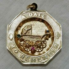 "Vintage 14K Yellow Gold ""A Date To Remember"" with Baby Carriage Charm"