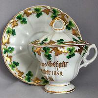 Vintage Antique GERMAN 1858 LARGE LIDDED CHOCOLATE CUP & SAUCER SET w/ Finial