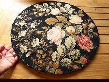 Vieux Needlework Panneau Rond Tapisserie Floral-photo