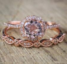 2.00Ct Round Cut Morganite & Diamond Engagement Bridal Ring Set Rose Gold Over