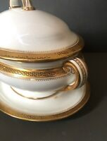 Antique Minton Sauce Tureen Boat Greek Key, Gold & White 1880s