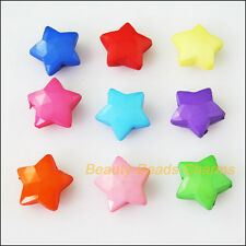 20Pcs Mixed Plastic Acrylic Faceted Star Charms Spacer Beads 15.5mm