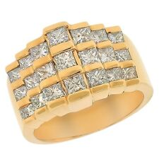 2.08ctw Channel Set Princess Cut Diamond Ladies Staircase Ring 14K Yellow Gold