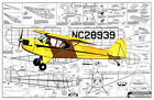 """Model Airplane Plans (FF): PIPER CUB J5 27"""" Scale Rubber Powered (Comet)"""