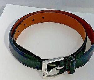 """Lauren Ralph Lauren Black Italian Leather Belt Women's MEDIUM Silver Buckle 1"""""""