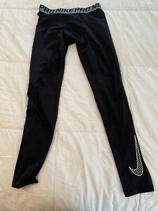 Nike Pro Full Length Compression Leggings Boys Size Youth XL Black White Trainin