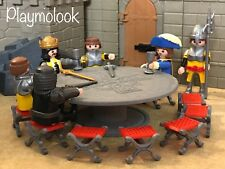 MESA Y 12 SILLAS REY ARTURO CUSTOM ROUND TABLE FIGURAS PLAYMOBIL NO INCLUIDAS