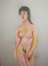 Nude Female portrait pastel painting signed