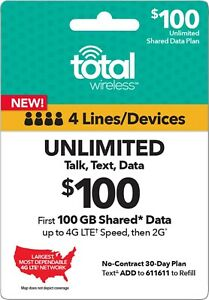 TOTAL WIRELESS $100 Prepaid Refill Top-Up - 4 Line Family Plan 100GB