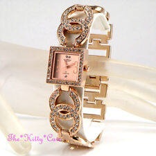 Ladies Rose Gold Pl Designer Double Kiss Bling Dress Watch w/ Swarovski Crystals
