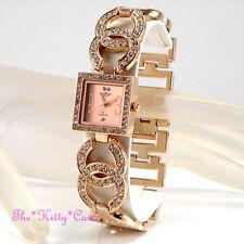 Ladies Rose Gold Pl Designer Double Kiss Bling Dress Watch w/ Swarovski Crystals