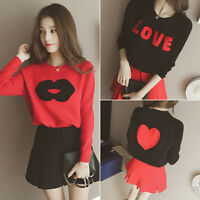Korean College Women Knit Sweater Jumper Pullover Shirt Loose Casual Blouse Tops