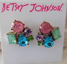 NWT Beautiful Betsey Johnson Sweet Shop Cluster Pastel Crystal Stud Earrings