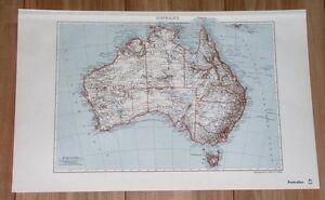 1935 ORIGINAL VINTAGE MAP OF AUSTRALIA PERTH MELBOURNE SYDNEY ADELAIDE BRISBANE