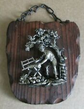 Vintage Rustic Wooden Plaque & Chain with Metal Figure of Man Sawing Wood