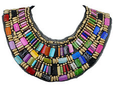 Black Tribal Large U Shaped Draped Multicolour Rainbow Beads Statement Necklace