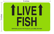 10 LIVE FISH shipping labels with Arrows - Neon Green