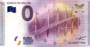 12 MILLAU Viaduc, 2015, Billet Euro Souvenir