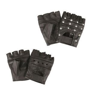 BIKER Fingerlinge Handschuhe ohne Finger Echt Leder Fingerlose Einsatzhandschuhe