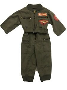 RARE Toddler Marines Flight Suit Military Romper 24 Months? Sewn Patches Vintage