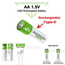 Pile AA 1.5V Rechargeable USB Type-C Batterie 2600 mAH ⚡charge rapide⚡ Battery
