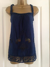 NEXT Navy Blue Floral Embroidered Lace Strappy Top Size 10