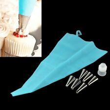 Silicone Reusable Icing Piping Cream Pastry Bag + Nozzle Cake Decorating Tool DI