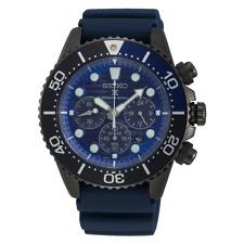 Seiko Save The Ocean Dark Solar Chronograph Blue Dial 200M Divers Watch