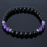 Love Protection Gemstone Bracelet Black Onyx Amethyst 925 Sterling Silver Beads
