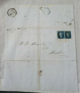 GB QUEEN VICTORIA SG 14 2D BLUE X PAIR USED ON COVER TO HULL.