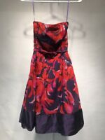 THE LIMITED Strapless DRESS - Size 2 - Purple and Red Lined Skirt Fit & Flare