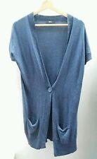 M&S Blue Cardigan Size 10 Long Top <J1615