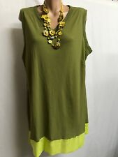 TS TAKING SHAPE SIZE M/ L LOVELY OLIVE AND FLUORO GREEN MESH TUNIC TOP