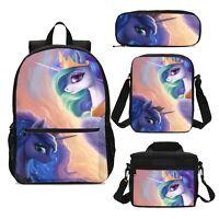 "My Little Pony Girls 17"" Large School Backpack Lunch Bag Unicorn Bag Set Lot"