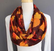 Autumn Leaves Pumpkin Leaf Brown circle infinity endless loop long gauze scarf