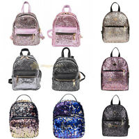 Women PU Leather Bling Backpack Girl Mini Small Bag Sequins Schoolbag Travel Bag