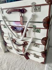 Vintage Colonial Unique Hand Painted Suitcases With Labels