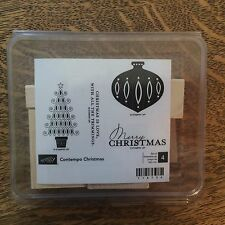 Stampin' Up! Contempo Christmas unmounted Rubber stamps set with blocks #118734