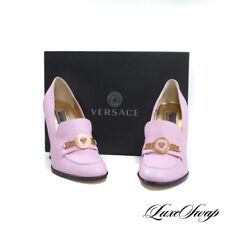 NIB Versace Made in Italy Tribute Baby Pink Leather Gold Medusa Penny Shoes 40