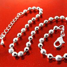 Anklet Genuine Real 925 Sterling Silver S/F Solid Ladies Bead Link Design 25Cm