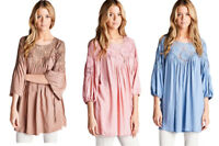 JODIFL Womens Boho Emboridered Lace Bohemian 3/4 Sleeve Top Blouse Tunic S M L