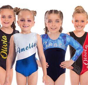 Personalised Girls Short & Long Sleeved Sleeveless Gymnastics Dance Gym Leotard